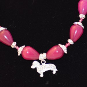 Dachshund necklace Purple beads