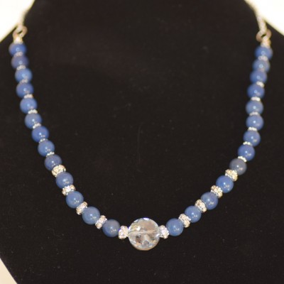 Blue Agate and Swarovski Crystal necklace