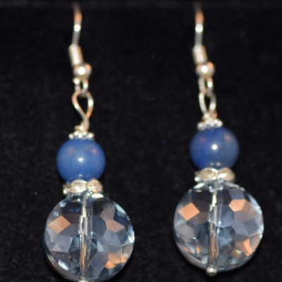 Blue Agate and Crystal earings