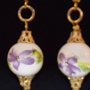 Purple on white flower Murano bead earings