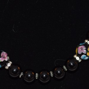 Black swarovski pearl and Morano bead necklace