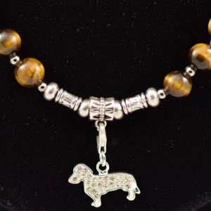 Tigers eye necklace with Dachshund