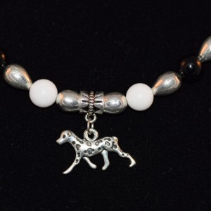 White Black and silver Dalmatian necklace