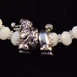 White coral beaded Poodle necklace