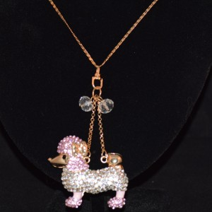 Poodle necklace pink diamontes