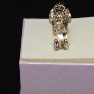 Antique Silver Poodle Ring