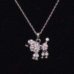 Poodle necklace silver plated
