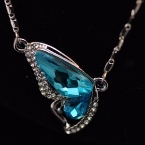 Turquoise butterfly crystal pendant necklace