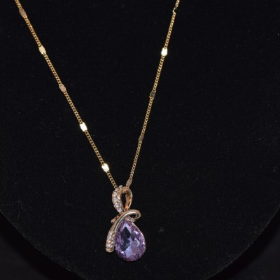 Crystal Purple stone necklace