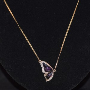 Purple butterfly crystal pendant necklace