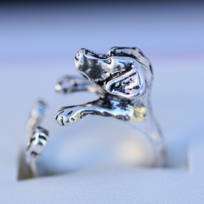 Labrador wrap ring antique silver