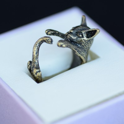 Cat ring bronze