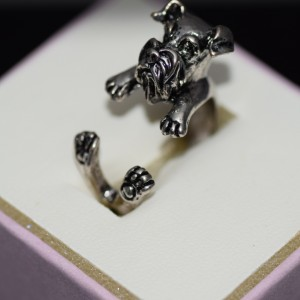 Schnauzer ring silver plated