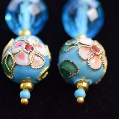 Blue bead and crystal earings
