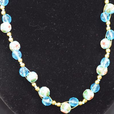 Blue bead and crystal necklace