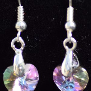 Swarovski crystal Pink heart pendant and earings